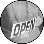 Photo:  Open sign in a shop window